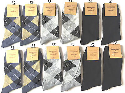 6,12 Pairs New Cotton Men Casual Dress Crew Socks Fashion Multi-Color Size 10-13