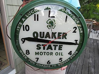 ORIGINAL 1940's QUAKER STATE MOTOR OIL CLOCK EXT RARE BY DUALITE NOT A PAM CLOCK