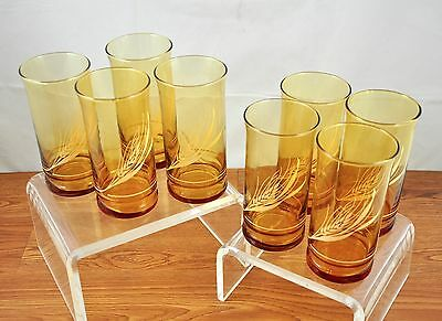 Set of Eight (8) Libbey Amber Brown Tint Golden Harvest Wheat Drinking Glasses