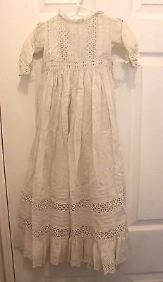 Antique Eyelet and Lace Trim Cotton Christining Gown Stunning