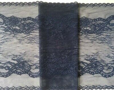 """laverslace - Stunning Delicate Navy Blue Wide Stretch Tulle Lace Trim 9""""/22.5cm"""