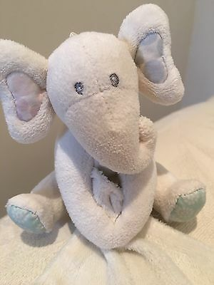 M&s Marks And Spencer Elephant Cream Comfort Blanket Baby Soft Toy Comforter