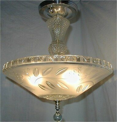 Vtg 30S Art Deco Floral Satin Clear Shade Crystal Chandelier 4 Light Fixture
