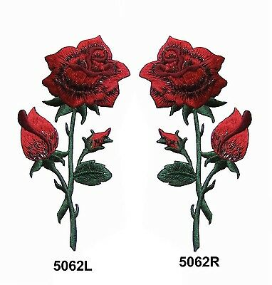 "#5062L/R  4 5/8""H Red Rose Flower Embroidery Iron On Applique Patch"