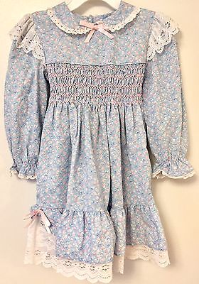 Polly Flinders Vintage Mid-Century Blue Cotton Prairie Dress Hand Smocked Size 4