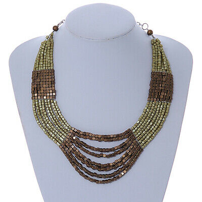 Olive, Bronze Acrylic Bead Multistrand Necklace - 56cm L