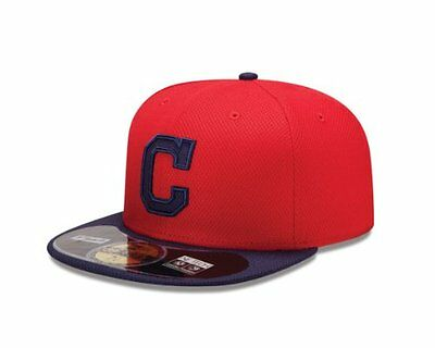 (TG. 7 1/4) Red NEW ERA Cappellino AUTHENTIC DIAMOND TECH CLEVELAND INDIANS TEAM
