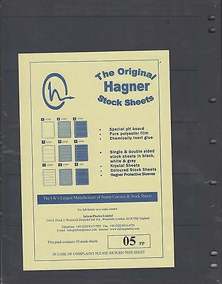 Hagner Stamp Album Sheets Pack of 10 Single Sided - 5 Strips
