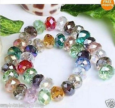 wholesale! 100pcs Multicolor faceted Crystal gemstone Charm Loose Beads 4x6mm