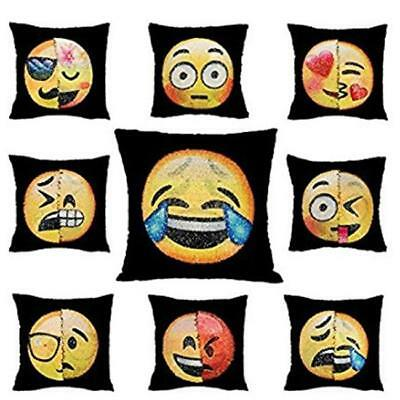 Fashion Reversible Sequin Emoji Pillow Case Changing Cushion Cover Home Decor LG