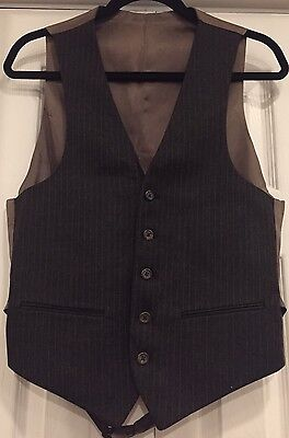 Vintage 70s/80s Givenchy Charcoal Pinstripe Wool Suiting Vest Size S