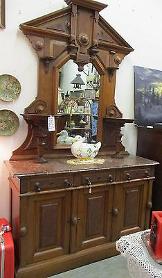 Solid Walnut Victorian Sideboard Buffet with Mirror and Mable Top