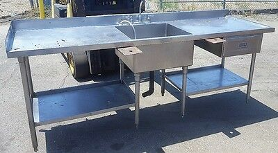 PREP SINK with Table and drawer all stainless restaurant food prep
