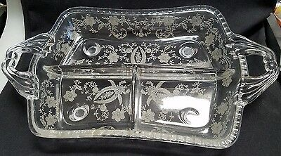 New Martinsville / Viking Glass 3 Part Divided Relish Celery Tray Dish - Prelude