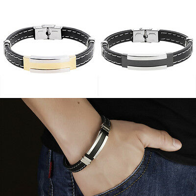 Men Bracelet Silicone Wristband Stainless Steel Casual Bangle Bracelet Jewelry
