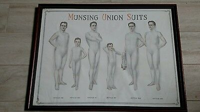 """VERY RARE Early 1900s MUNSING  """"UNION SUITS Advertisement Framed"""