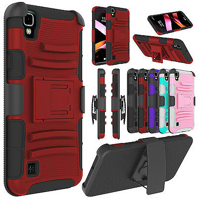 For LG X Style/Tribute HD Shockproof Rubber Hybrid Holster Clip Phone Case Cover