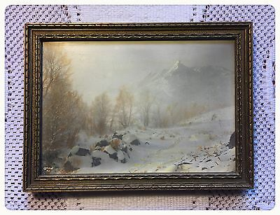 Vintage original antique frame,4 3/4 x 6 3/4 winterscene 5 x 7 gold parrish type