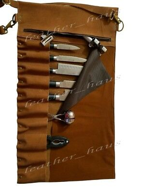 Lightweight premium Leather Chef Knife Bag / Knife Roll 10 Pockets Tan Leather