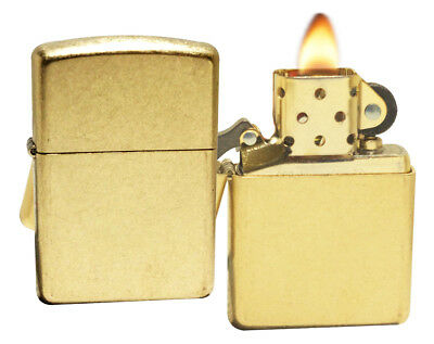 Zippo 28496 Armor Tumbled Brass Finish Windproof Pocket Lighter NEW