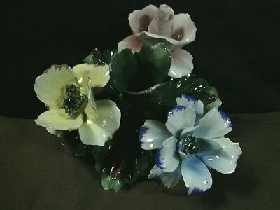 Unique Vtg. N. Capodimonte Hand Painted Large Floral Candlestick ,Italy