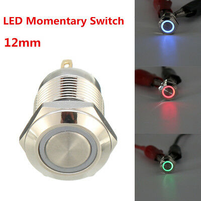 Waterproof Momentary 4 Pin Switch 12mm Nickel Plated Copper PushButton LEDLight