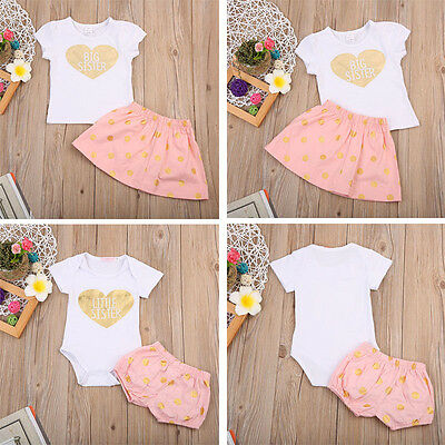 Kids Baby Girls Sister Matching Clothes Outfit Set T shirt +Dress Romper +Shorts