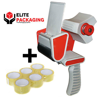 WAREHOUSE TAPE GUN DISPENSER + 6 ROLLS OF CLEAR 48MM x 66M PARCEL PACKING TAPE