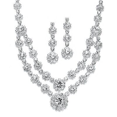 Mariell Regal Silver 2 Row Rhinestone Crystal Necklace and Earrings Set for and