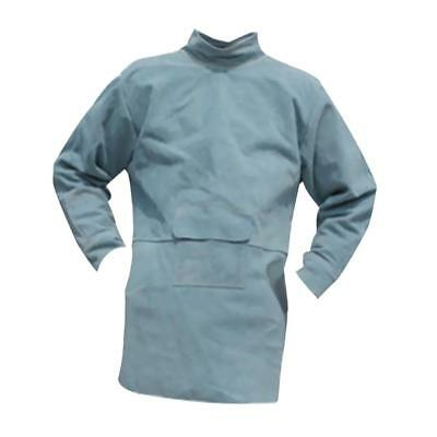 Blue Cowhide Leather Welding Coat Protective Gear Heat Insulation 85cm