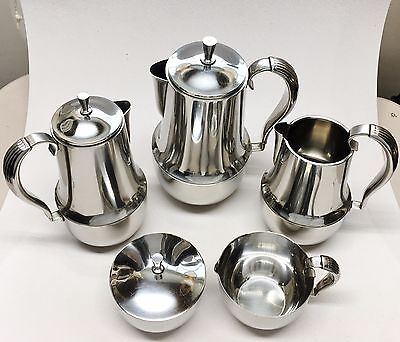 Georg Jensen Denmark Stainless Steel 5 Pc Coffee / Tea Service Set