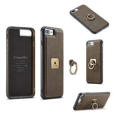 Vintage Leather Case Metal Ring Holder Stand PC Back Cover For iPhone/Samsung