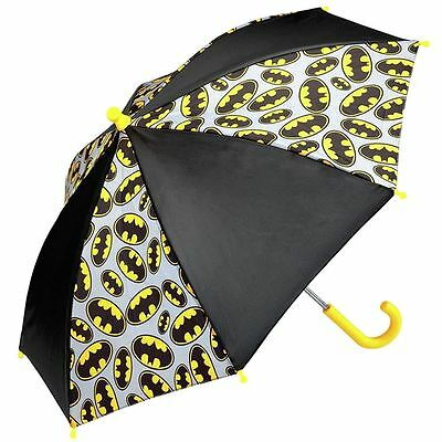 Officially Licensed Children's DC Comics Batman Logo Black Stick Umbrella