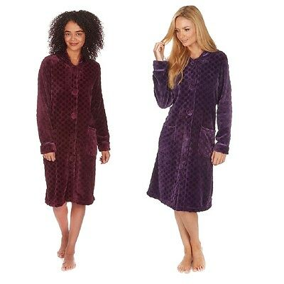 Ladies Soft Fleece Spot Embossed Dressing Gown with Button Up Front
