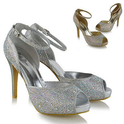 Womens Strappy Platform Peep Toe Bridal Court Shoes Ladies Diamante Party Heels