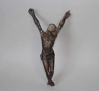 18th Century Hand Carved and Painted Antique Figure of Jesus Christ Crucifix