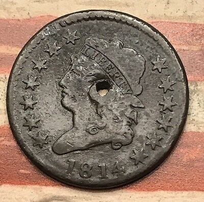 1814 1C Classic Head Large Cent US Copper Coin #RL3 Very Sharp Rare Key Date