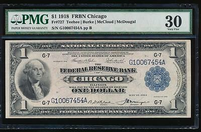 AC Fr 727 1918 $1 FRBN Chicago PMG 30 comment spread eagle!