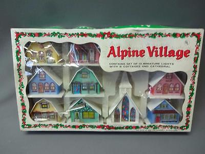 Vintage Alpine Village Christmas Light Covers Cottages Churches W Original Box