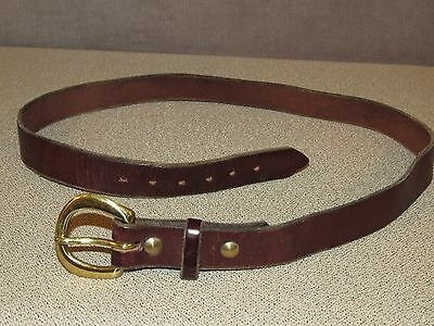 Vintage HANDMADE Brown Bridle Leather Jeans Belt Size 34