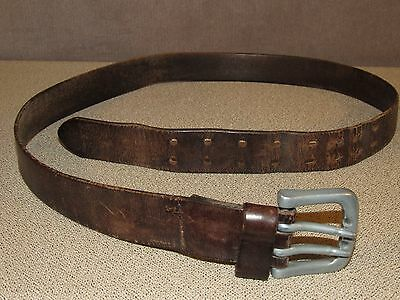 Vintage 1980's Brown Distressed Leather Jeans Belt Size 38