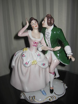 Royal Dux Antique Victorian Couple Figurine-Pink Triangle Stamp With Letter E