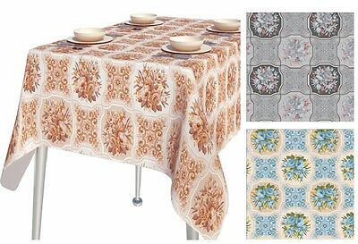 Pvc Table Cloth Bouquet Flower Floral Leaf Scroll Squares Geo Patchwork Wipeable