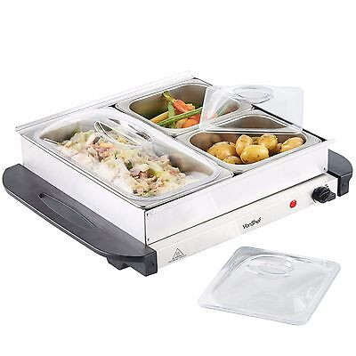 VonShef 3 Tray Food Warmer Buffet Server Hot Tray Keep Food Warm For Longer 200W