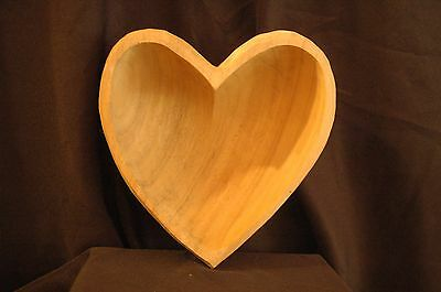 Hand Carved Wood Heart Shaped Bowl Centerpiece Snack Or Salad Bowl
