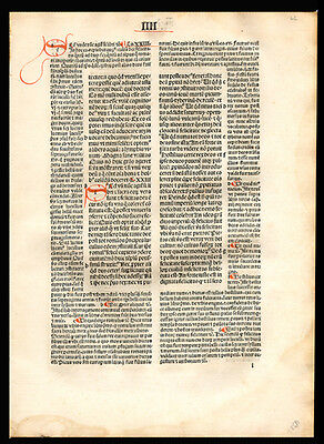 Christian Commentary 1494 City of God Incunable Leaf St Augustine of Hippo