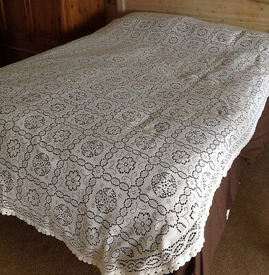 Vintage Lace Crotched Bed Spread Tablecloth Cotton White Floral Double Bed