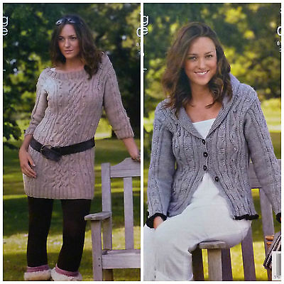 KNITTING PATTERN Ladies Boat Neck Cable Tunic & Cable Jacket Aran King Cole 3601
