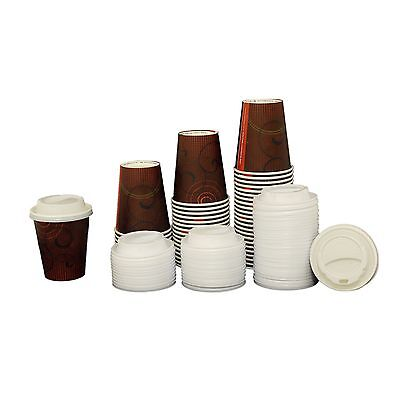 250ml Benders Premium Disposable Paper Coffee Tea Hot Cups With Sip Lids 9oz 8oz