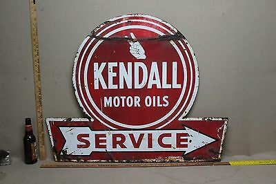 Scarce Kendall Motor Oil Service Arrow 2-Sided Metal Sign Gas Oil Ford Truck 66